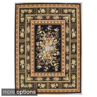 Black Orchid Hand-hooked Oriental Rug