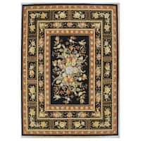 Black Orchid Hand-hooked Oriental Rug (5'9 x 8'9)