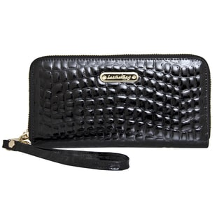 Leatherbay Croc Zip-Around Clutch