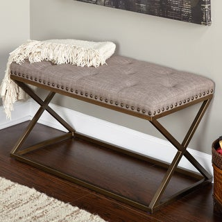 Simple Living Ollie Contemporary Glam Linen Metal Bench