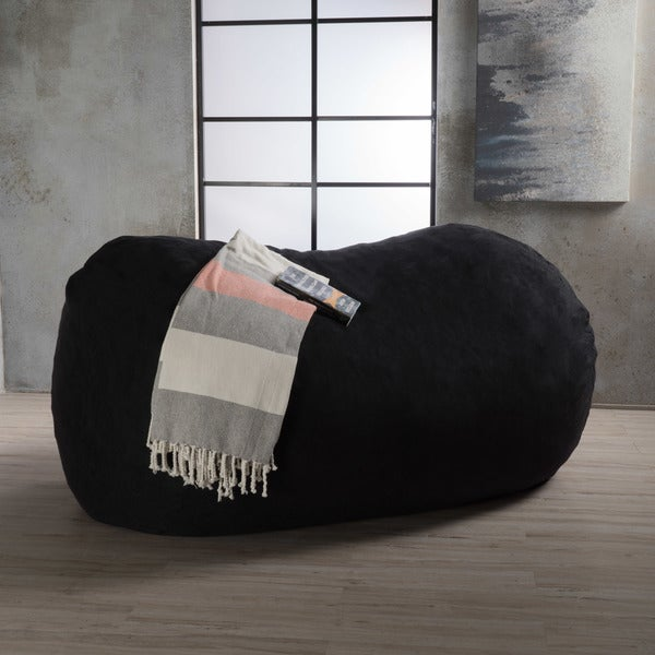 Asher Faux Suede 6.5-foot Lounge Beanbag Chair by Christopher Knight Home