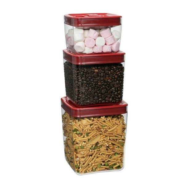Click Clack Cube Storage Container with Red Lids (Set of 3) - Free Shipping  On Orders Over $45 - Overstock.com - 17276154