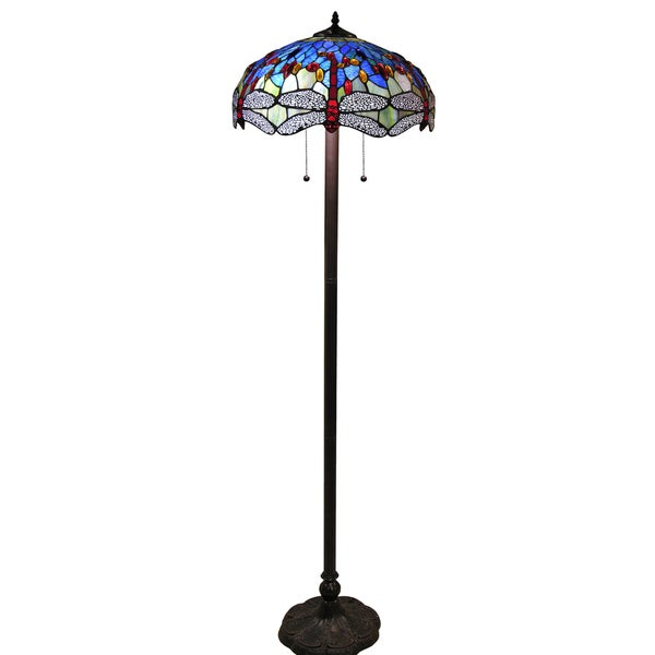 Hailey tiffany style 18 inch blue floor lamp free for Overstock tiffany floor lamp