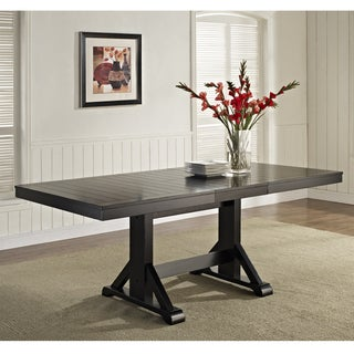 60-inch Antique Black Wood Trestle Base Dining Table