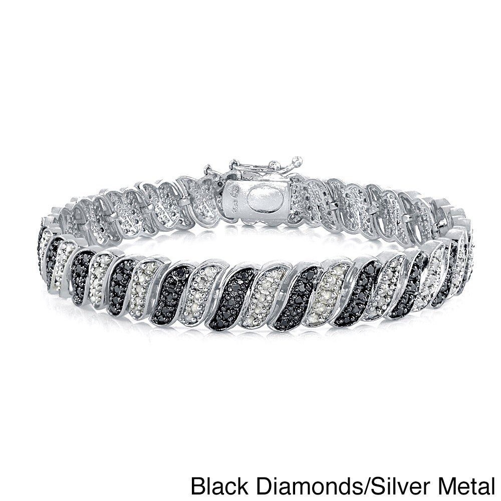 Db Designs 1ct Tdw Black Or Blue And White Diamond Bracelet