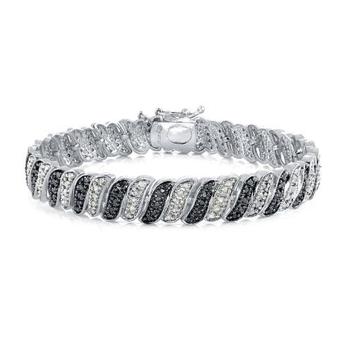 DB Designs 1ct TDW Black or Blue, and White Diamond Bracelet