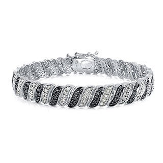 1ct TDW Diamond Bracelet With Black or Blue Diamond