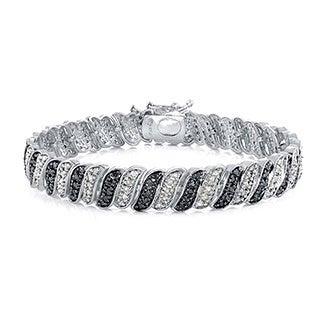 DB Designs 1ct TDW Diamond Bracelet With Black or Blue Diamonds