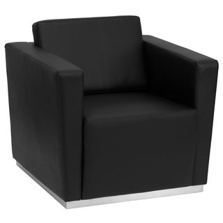 Trinity Series Contemporary Black Leather Chair with Stainless Steel Base