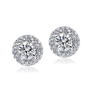 Crystal Ice Silvertone Swarovski Elements Crystal Stud Earrings