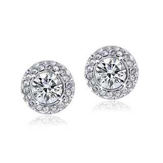 Crystal Ice Silvertone Swarovski Elements Crystal Stud Earrings