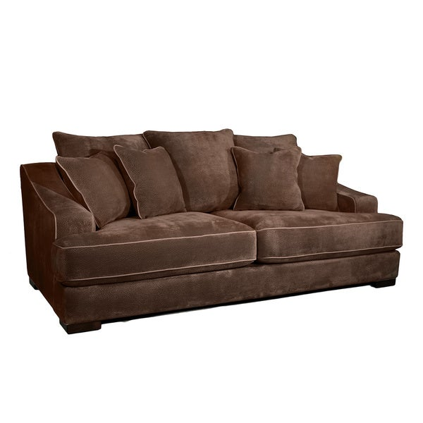 Shop Aiden Brown Fabric Sofa With Pillows Free Shipping