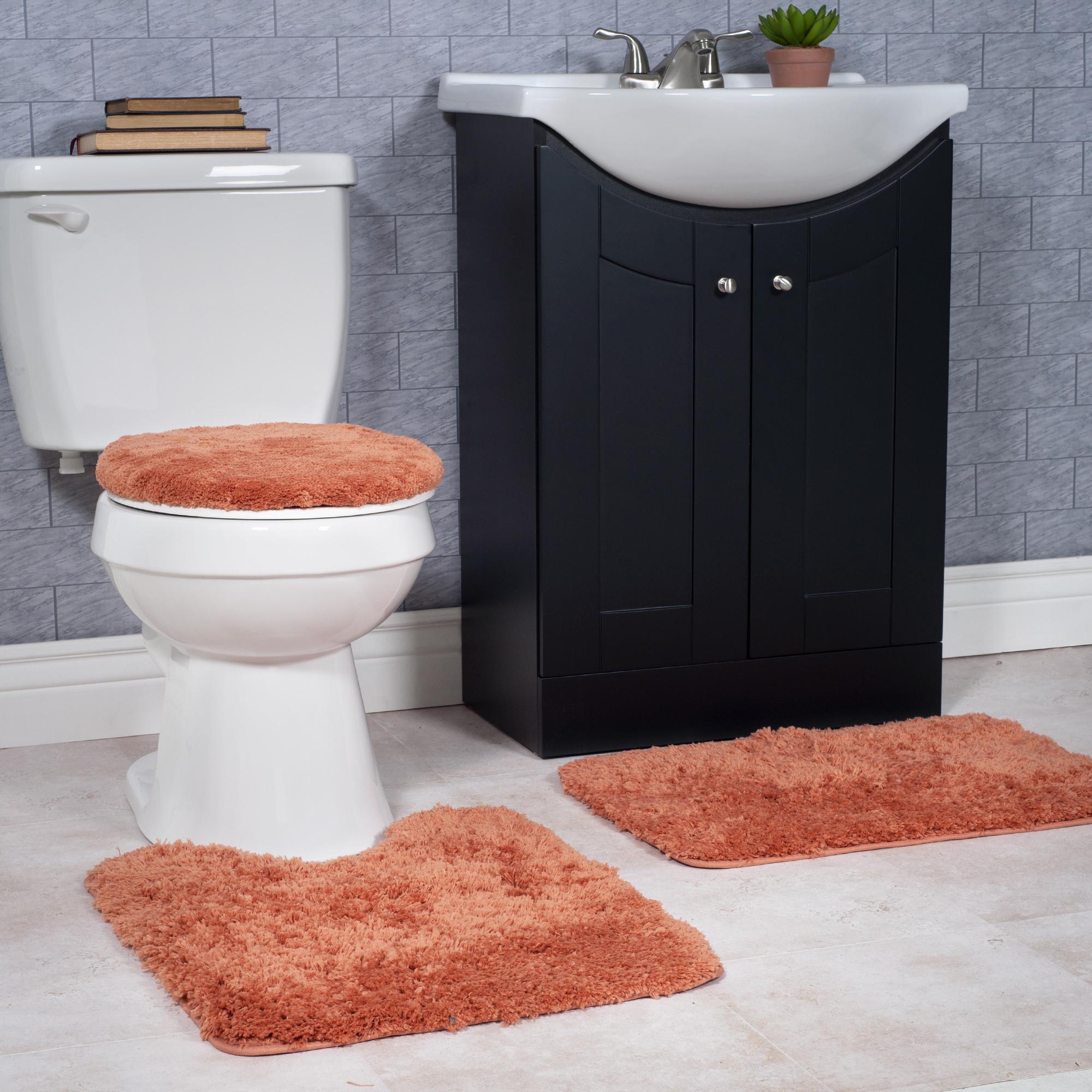 3-Piece Tree Bathroom Shower Non Slip Toilet Lid Cover Bath Mat Pedestal Rug Y