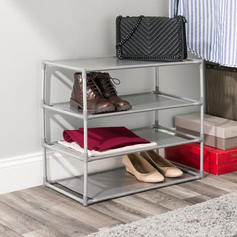 Home Basics Free-Standing Non Woven 4-Tier Shoe Rack - Silver
