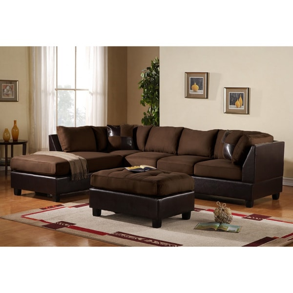 3 piece modern reversible microfiber and faux leather for Large 3 piece sectional sofa