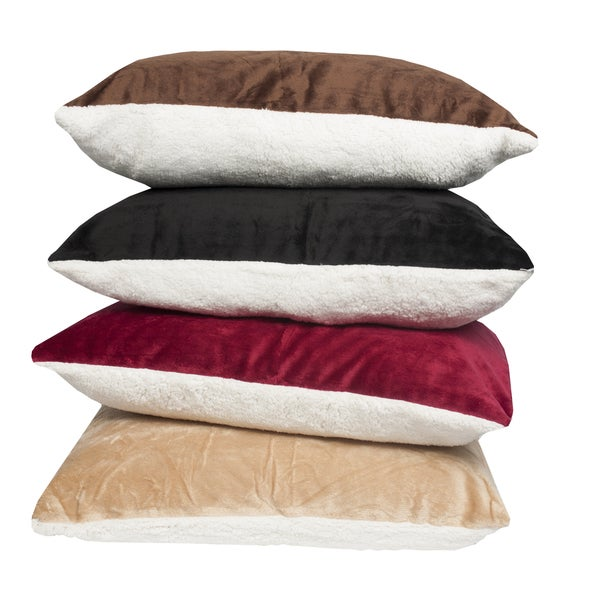 Ultra Soft Reversible Faux Mink and Sherpa Pillow (Set of 2)