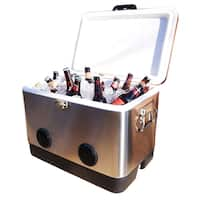 BREKX 54QT Stainless Steel Party Cooler with Bluetooth Speakers