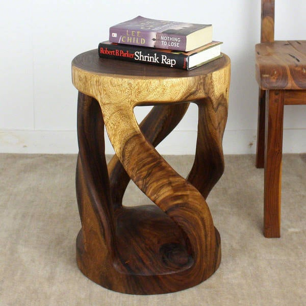 Haussmann Handmade Wood End Table Round Wild Twisted Vine 14 in DIA T x 20 in H Walnut Oil
