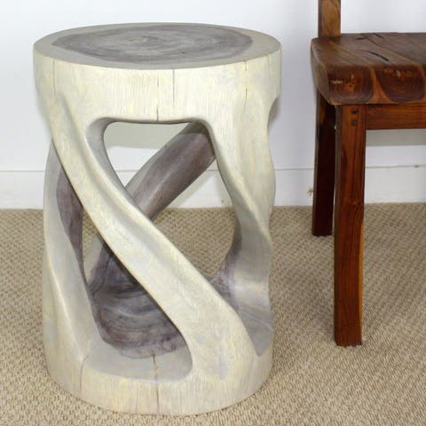 Haussmann Handmade Wood End Table Round Wild Twisted Vine 14 in DIA T x 20 in H Agate Grey Oil