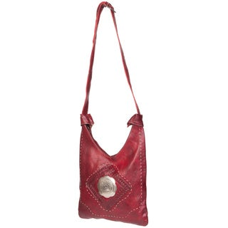 Marrakech Handmade Leather Dark Red Shoulder Bag (Morocco)