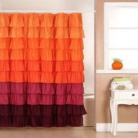 Windsor Home Scarlet Ruffle Shower Curtain with Buttonholes