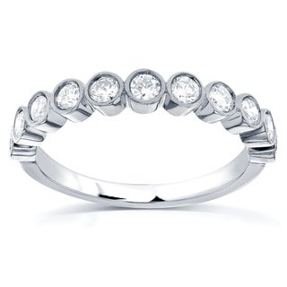 Annello by Kobelli 14k White Gold 1/2ct TDW Round-cut Diamond Wedding Band (G-H, I1-I2)