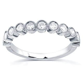 Annello by Kobelli 14k White Gold 1/2ct TDW Round-cut Diamond Bezel Wedding Band