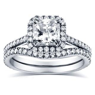 Annello 14k White Gold 1 1/2ct TDW Radiant-cut Halo Diamond Bridal Rings Set (G-H, I1-I2)