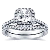 Annello by Kobelli 14k White Gold 1 1/2ct TDW Radiant-cut Halo Diamond Bridal Rings Set