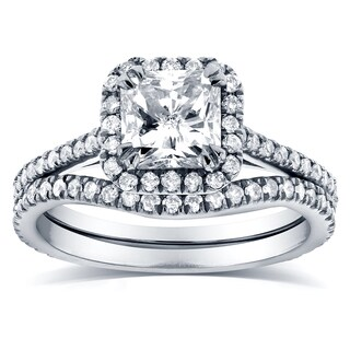 Annello by Kobelli 14k White Gold 1 1/2ct TDW Radiant-cut Halo Diamond Bridal Rings Set
