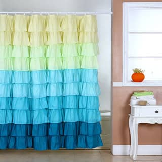 yellow and blue shower curtain. Windsor Home Sky Blues Ruffle Shower Curtain with Buttonholes Yellow Curtains For Less  Overstock com Vibrant Fabric