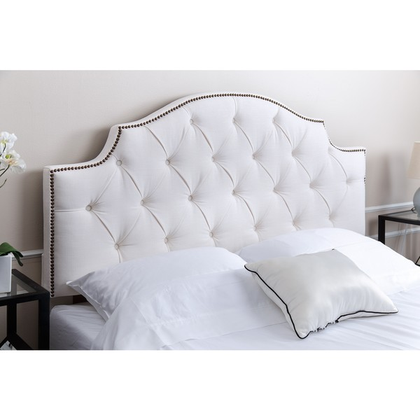 Abbyson Royal Tufted White Queen Full Linen Headboard