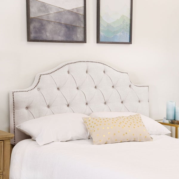Abbyson Royal Tufted White Queen/ Full Linen Headboard