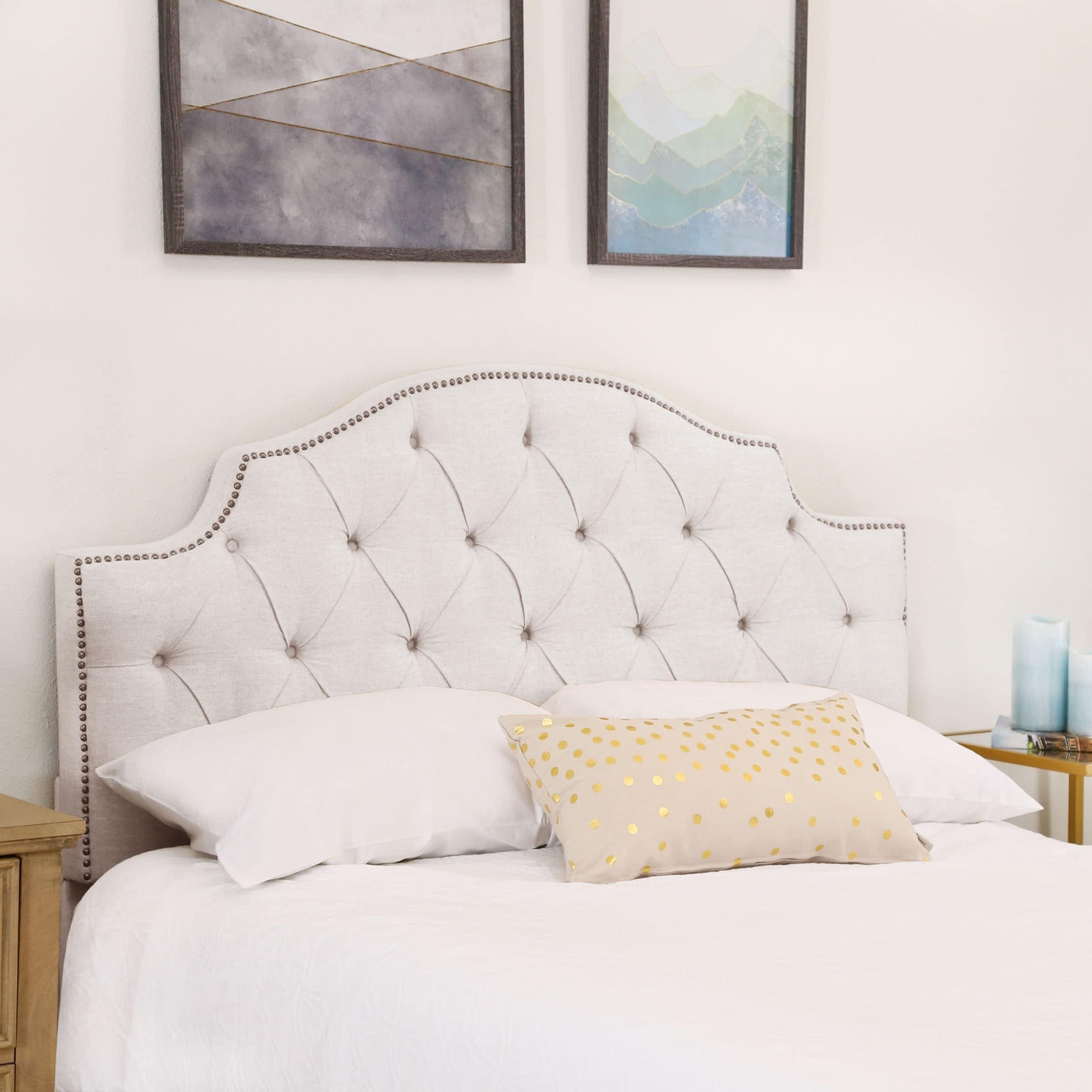 Abbyson Royal Tufted White Queen Full Linen Headboard On Sale Overstock 10147617