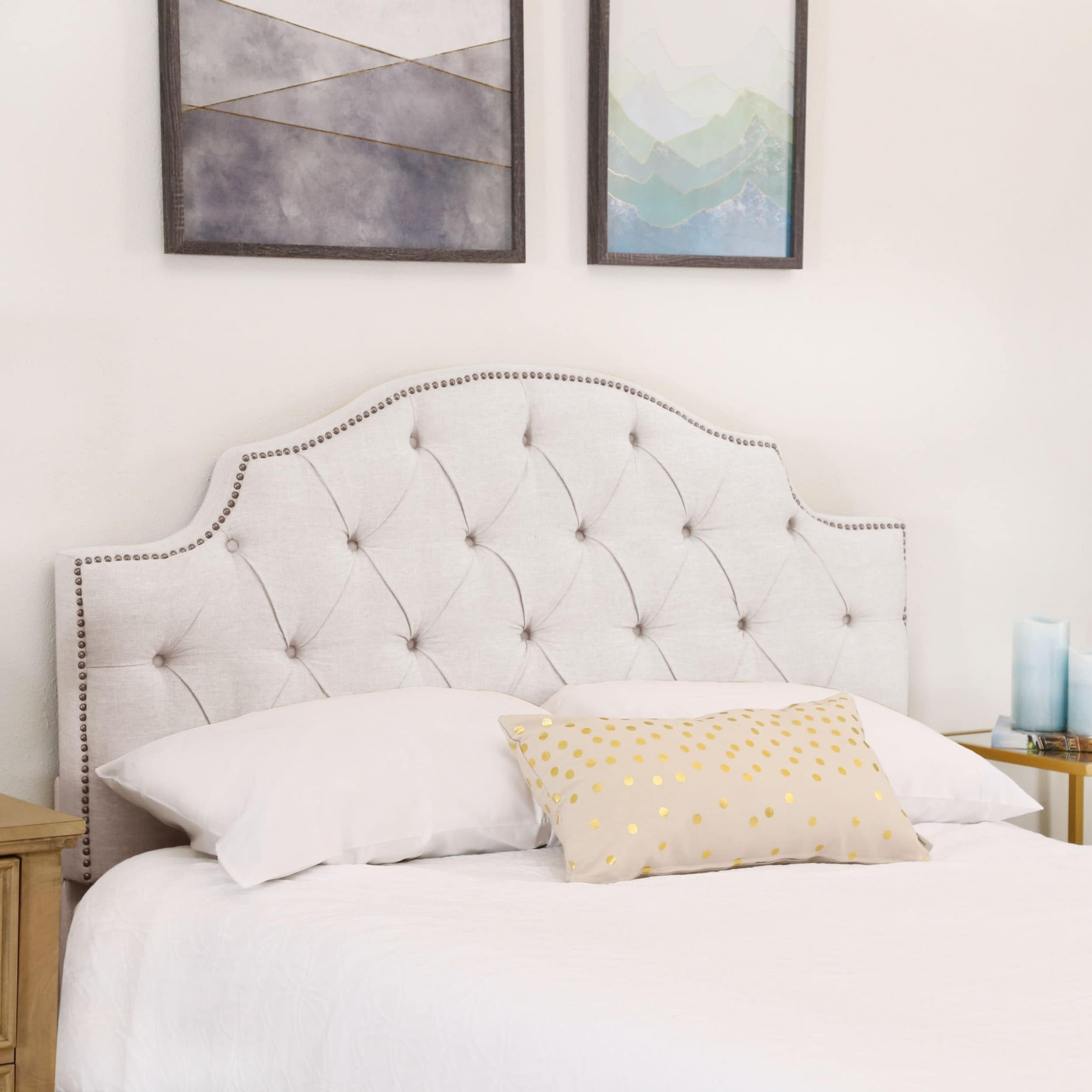 Abbyson Royal Tufted White Queen/ Full Linen Headboard (Q...