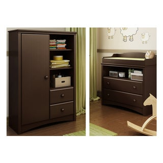 Angel Espresso Changing Table and Armoire with Drawers