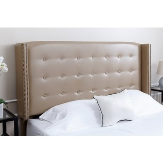 ABBYSON LIVING Parker Tufted Beige Leather Queen/ Full Headboard