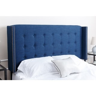 ABBYSON LIVING Parker Tufted Navy Blue Linen Headboard, Full/Queen