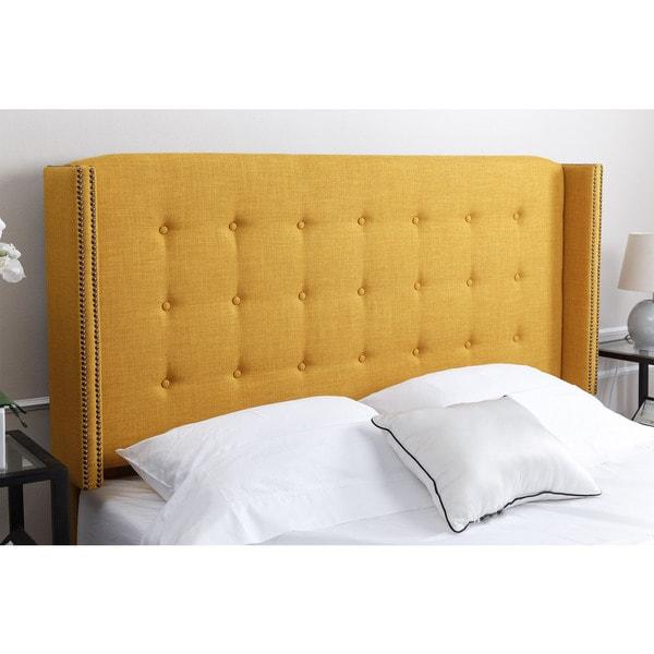 ABBYSON LIVING Parker Tufted Yellow Linen Queen/ Full Headboard