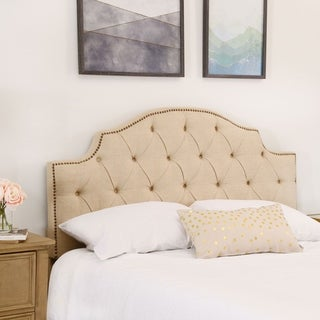 abbyson royal tufted ivory linen queen full headboard