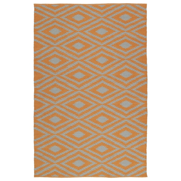 Indoor/Outdoor Laguna Orange and Grey Ikat Flat-Weave Rug - 9' x 12'
