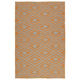 Indoor/Outdoor Laguna Orange and Grey Ikat Flat-Weave Rug (9'0 x 12'0)