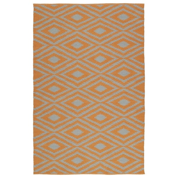 Indoor/Outdoor Laguna Orange and Grey Ikat Flat-Weave Rug - 8' x 10'