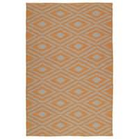Indoor/Outdoor Laguna Orange and Grey Ikat Flat-Weave Rug - 8' x 10'