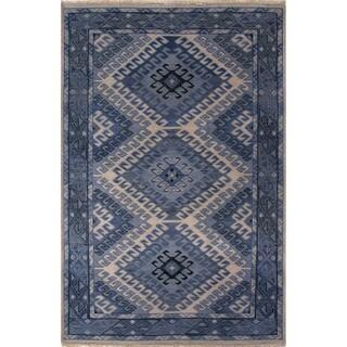 Hand-Knotted Oriental Pattern Dusty blue/Blue heaven Wool (2x3) Area Rug