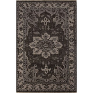 Hand-Knotted Oriental Pattern Gargoyle/Oyster gray Wool (2x3) Area Rug