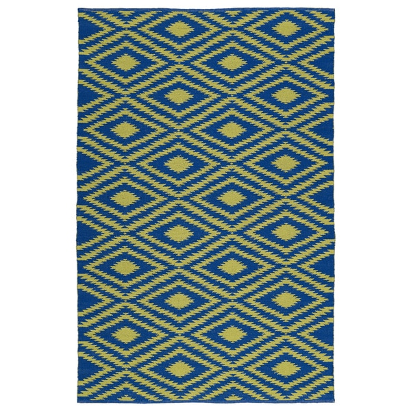 Indoor/Outdoor Laguna Navy and Yellow Ikat Flat-Weave Rug - 9' x 12'