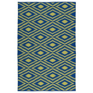 Indoor/Outdoor Laguna Navy and Yellow Ikat Flat-Weave Rug (9'0 x 12'0)