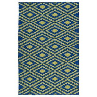 Indoor/Outdoor Laguna Navy and Yellow Ikat Flat-Weave Rug (9'0 x 12'0)