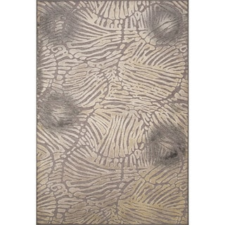 Machine Made Abstract Pattern Neutral gray/Pewter Chenille (2x3.11) Area Rug